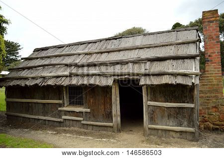 The Bark Hut located in Aireys Inlet, a small town along the Great Ocean Road in Victoria, Australia, is a replica of a 1860's settlers hut that was destroyed in bushfires in 1983.