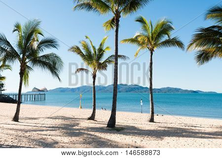 Beautiful tropical beach The Strand Townsville with Magnetic Island in the background