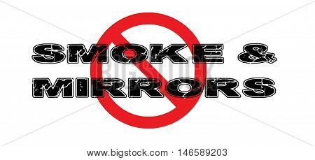 Ban Smoke and Mirrors the practice of fooling someone into not seeing the real point of the situation.