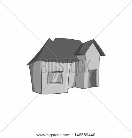 One storey residential house icon in black monochrome style isolated on white background. Building symbol vector illustration