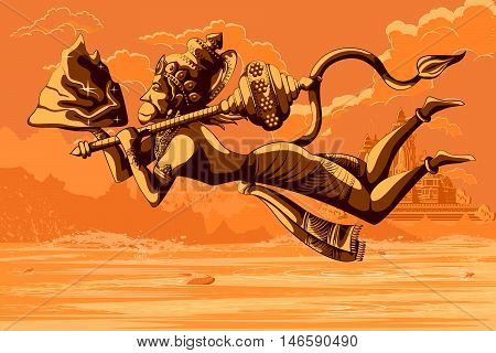 Indian God Hanuman flying with mountain. Vector illustration