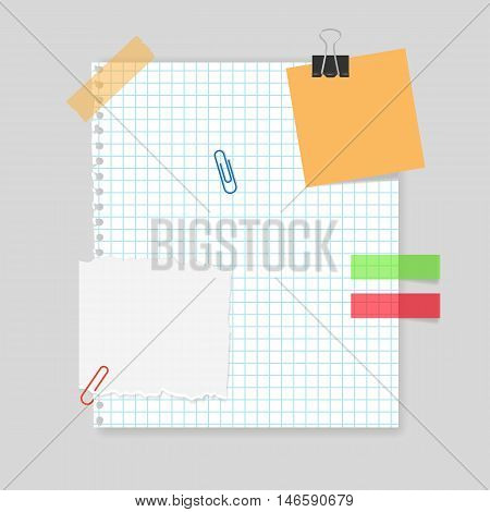 Blank realistic squared sheet of paper with scotch tape, paper clips, memo stickers