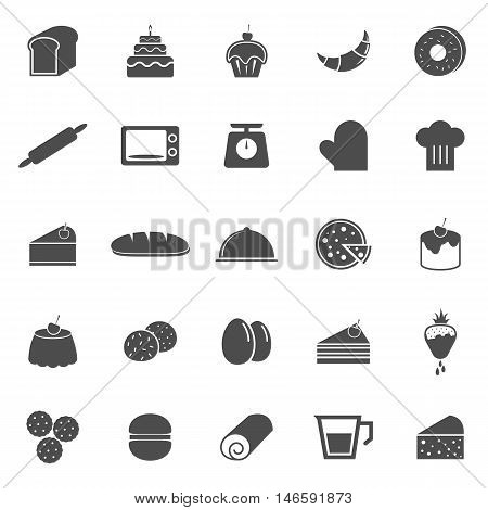 Bakery icons on white background, stock vector