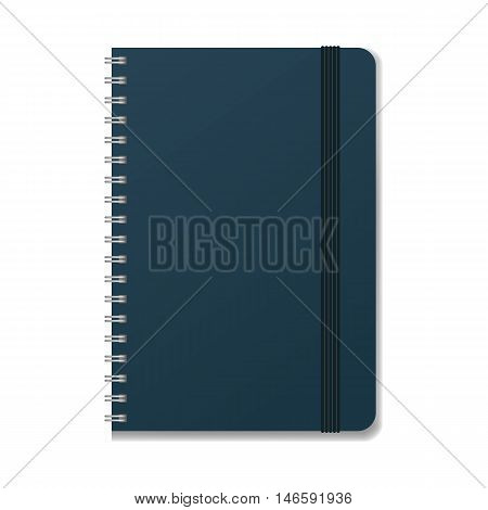 Blank realistic spiral notebook with elastic band mockup