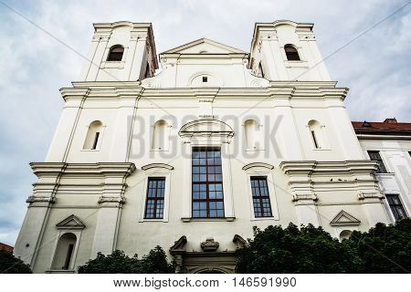 Jesuit church in Skalica Slovak republic. Religious architecture. Place of worship. Cultural heritage. Architectural scene.