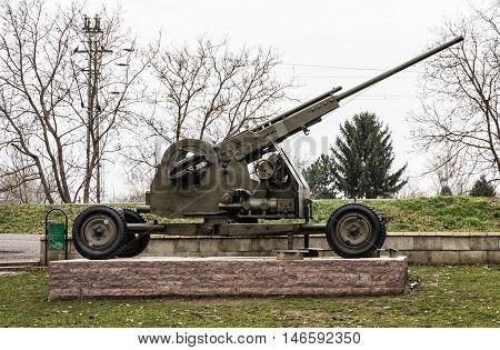 Anti-aircraft machine gun of the World war II. Biggest war campaign of 20th century. Exposed artillery. Weapons theme.