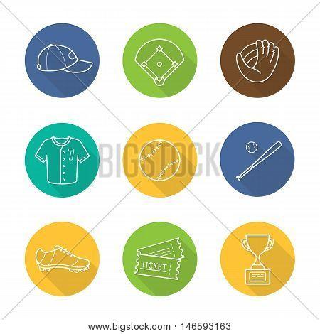 Baseball accessories flat linear long shadow icons set. Cap, field, mitt, shirt, ball, bat, shoe, tickets and winner's award. Softball player's kit. Vector line symbols
