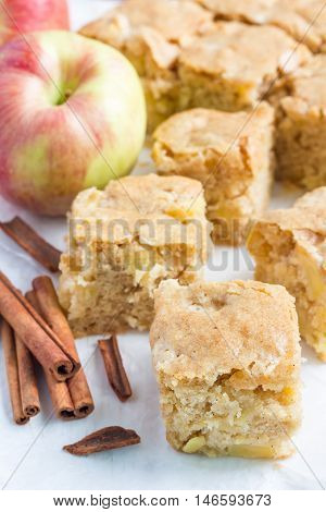 Homemade blondie (blonde) brownies apple cake square slices on parchment vertical