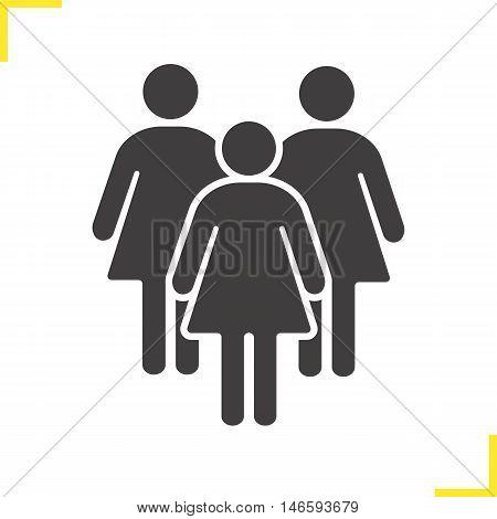 Women icon. Drop shadow feminine club silhouette symbol. Women community. Ladies. Negative space. Vector isolated illustration