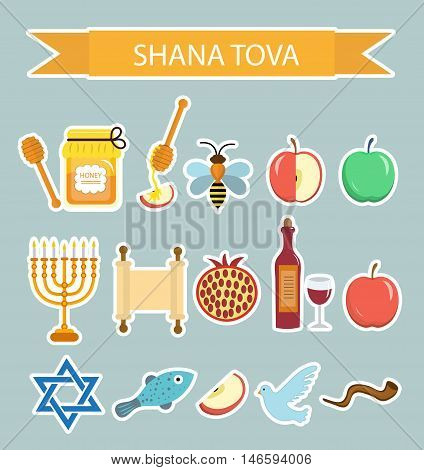 Set icons stickers on the Jewish New Year Rosh Hashanah Shana Tova. Cartoon icons stickers flat style. Traditional symbols of Jewish culture. Vector illustration.