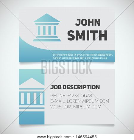Business card print template with courthouse logo. Easy edit. Bank building. lawyer. Advocate. Judge. Banker. Stationery design concept. Vector illustration