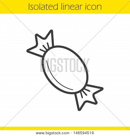 Candy linear icon. Wrapped sweets thin line illustration. Caramel candy contour symbol. Vector isolated outline drawing