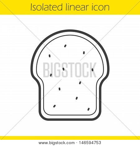 Toast linear icon. Thin line illustration. Toasted dread slice contour symbol. Sandwich. Vector isolated outline drawing