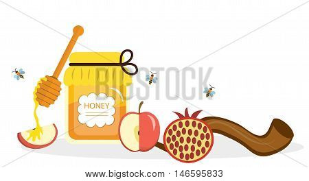 Greeting card for the Jewish New Year Rosh Hashanah Shana Tova. Rosh Hashanah greeting card. Honey and apples pomegranates shofar. Vector illustration