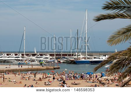 JUNE 18 2011 - BARCELONA SPAIN: Marina and beach in Barselona
