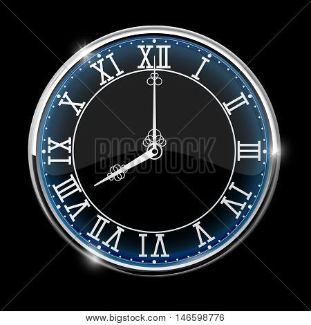 Vintage Roman numeral clock. Black vector illustration