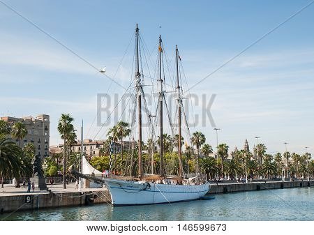 JUNE 14 2011 - BARCELONA SPAIN: Sail boat at Barselona port
