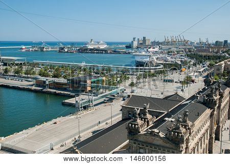 Top view on Barcelona Port District. Ызфшт