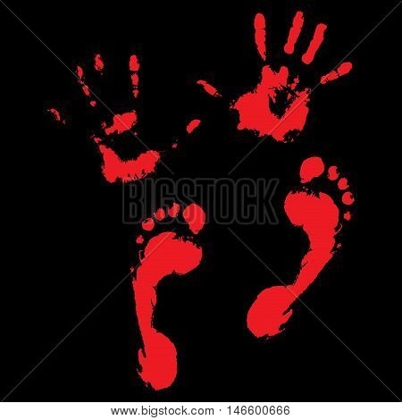 Bloody handprints and feet. Blood splatter and bloody hand print. vector illustration