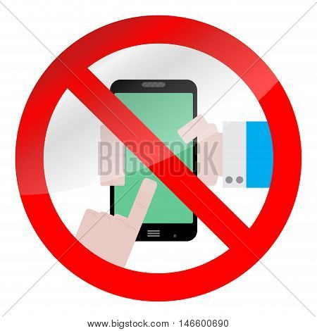 Ban use smarphone device. No phone zone sign prohibition. Vector illustration