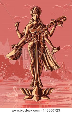 Indian Goddess Saraswati playing veena. Vector illustration