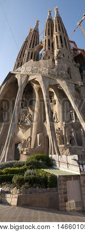JUNE 15 2011 - BARCELONA SPAIN: Large panoramic view of Sagrada Familia Cathedral church in Barcelona
