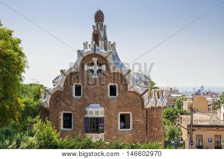 JUNE 16 2011 - BARCELONA SPAIN: Gingerbread House of Gaudi in Park Guell. Barcelona