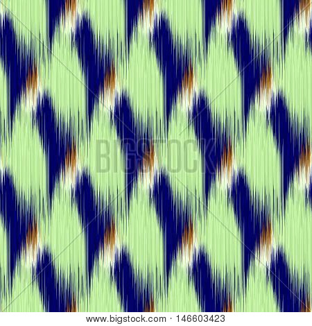 Seamless Ikat Pattern with blue and green rhombuses. Abstract background for textile design wallpaper surface textures wrapping paper.