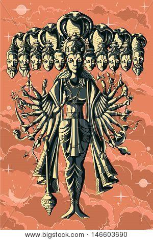 Indian God Vishnu Dashavatar with ten head of different Gods. Vector illustration