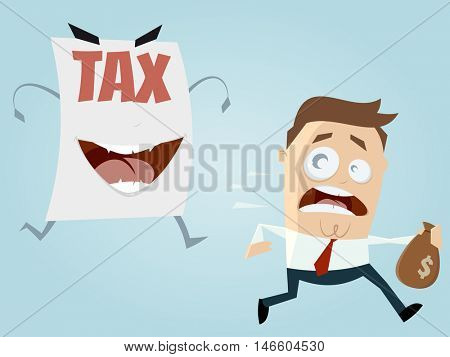 afraid man running away from a tax assessment monster