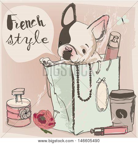 little cute glamour bulldog on the shopping bag