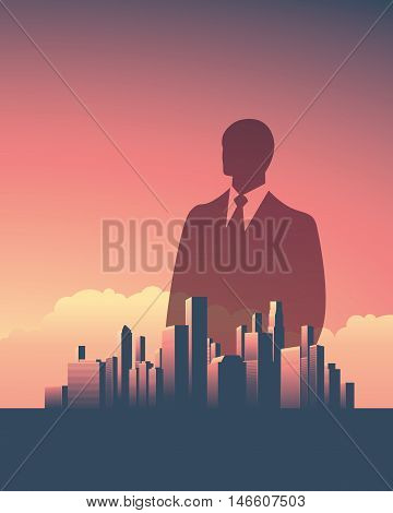Urban skyline cityscape with businessman. Double exposure vector illustration landscape background. Vertical portrait orientation. Symbol of corporate world, banks and business tycoons. Eps10.