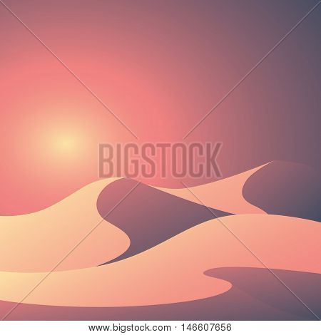 Desert landscape vector illustration. Beautiful colorful sunset scene with elegant curvy sand dunes and soft pastel gradients. Eps10 vector illustration.