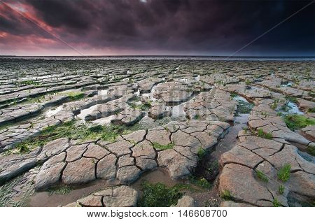 low tide on Wadden sea at sunset Friesland Netherlands