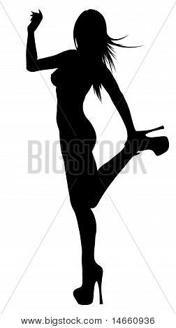 Woman Silhouette Isolated On White