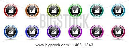 histogram round glossy colorful web icon set