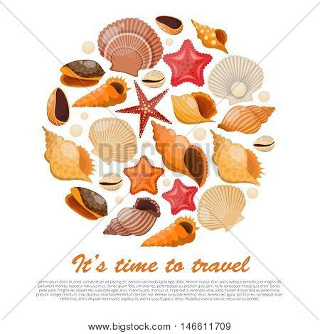 Concept shells and sea stars with isolated icon set combined in round and headline it s time to travel vector illustration