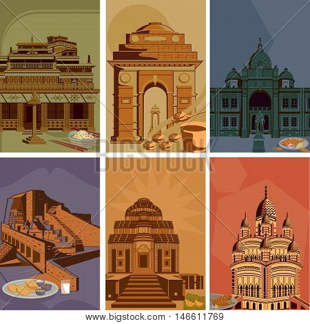 Vintage poster of famous landmark place with heritage monument in India . Vector illustration
