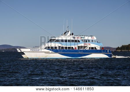BAR HARBOR, USA - OCTOBER 15, 2015: Whale Watching boat in the bay of Bar Harbor (Maine USA) on the way to the whales