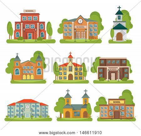 Isolated and colored building school church icon set with different types and purposes for buildings vector illustration