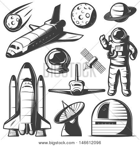 Space monochrome elements set with astronaut shuttles and rockets cosmic objects observatory and radar isolated vector illustration