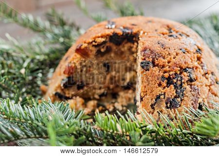 Christmas Plum Pudding In The Section On Fir Branches