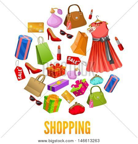 Shopping round compositions with red dress and shoes bags and gift boxes parfume and cosmetic vector illustration