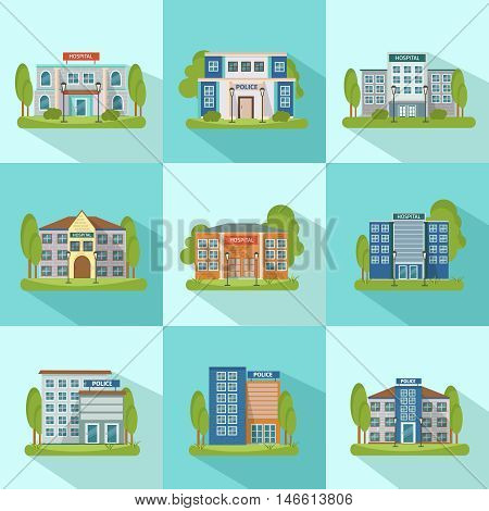Square city buildings icon set with shadows isolated and flat different types of buildings vector illustration