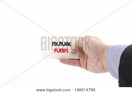 Mutual funds text concept isolated over white background