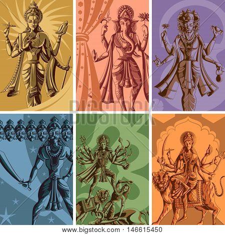 Indian God and Goddess Religious Vintage Poster. Vector illustration poster