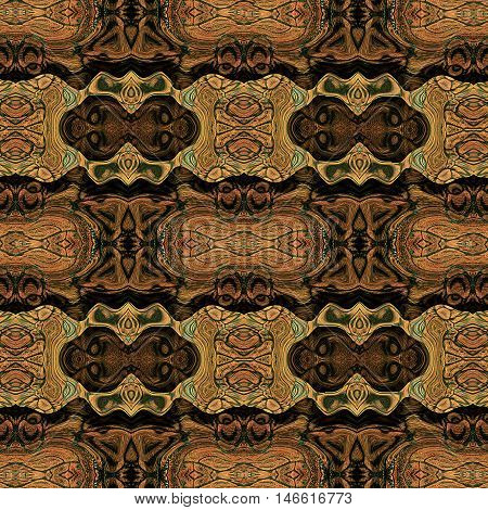 Abstract seamless pattern with stylized masks of monkeys and reptile scales resembling ethnic motifs