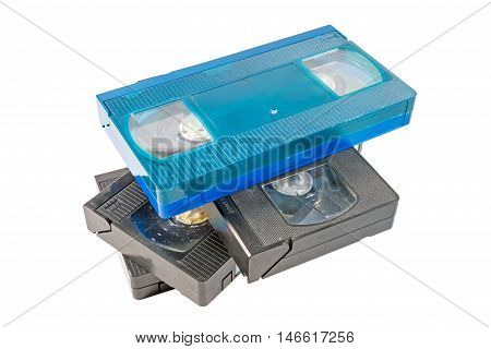 video tapes are overlap on the white background
