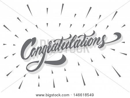 Congratulations - calligraphic lettering for invitation, banner, poster, card or clothing design.