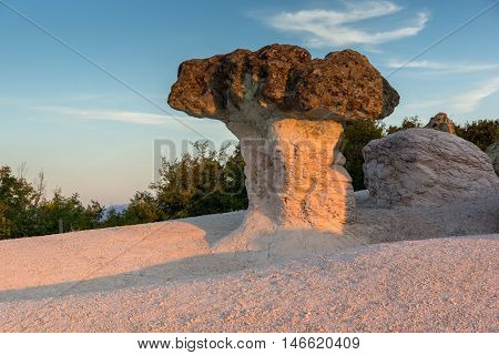 Sunrise view of rock formation The Stone Mushrooms near Beli plast village, Kardzhali Region, Bulgaria